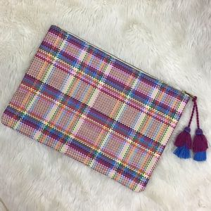 Madewell Clutch Pouch Plaid Woven Large Bag Case